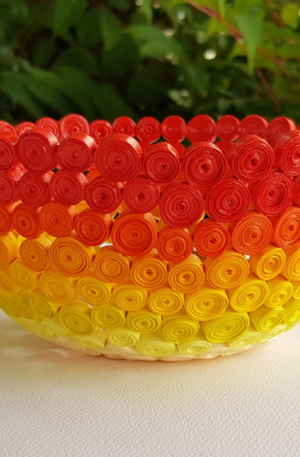 Yellow, Orange and Red Ombre Bowl